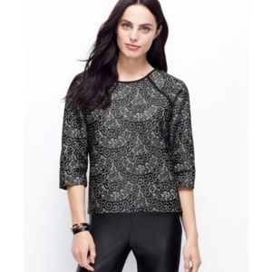ANN TAYLOR NEW Black Lace Bonded Sweater